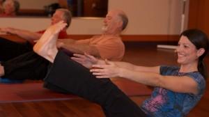 Shakthi holding yoga class in Twinsburg, Ohio